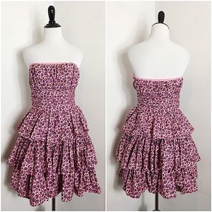 Betsy Johnson Pink Floral Mini Strapless Dress